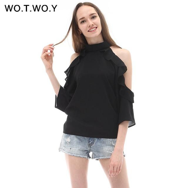 43e4067568b98 Summer Off Shoulder Blouse Shirt Women Ruffles Soft Fashion Femme Blouse  Halter Black Cold Shoulder Female Top Blusas Brand T751