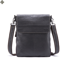 FUSHAN Crossbody Bag Fashion Men Messenger Bags Small Flap Solid Mens Shoulder Bags Zipper ipad Genuine Leather Men Bag Male