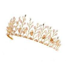 Florist Rhinestone Pearl Wedding Tiara Crown Bridal Jewelry Band Hair Accessories Hair Crown for Women Gift CX17