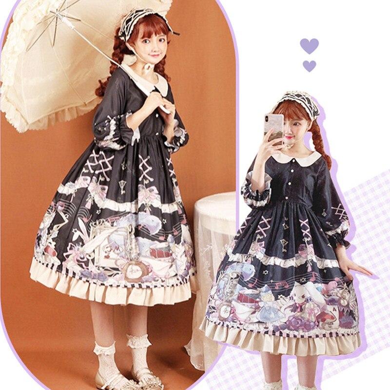 3 couleurs lapin et Alice mignon col Cosplay Lolita Robe victorienne Robe Gothique Femme douce poupée filles Lolita Robe de princesse