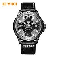EYKI Для мужчин кварцевые часы с большим циферблатом PU Группа Спорт Аналоговый Дисплей круглый черный уникальный Дизайн Военная Униформа вод...