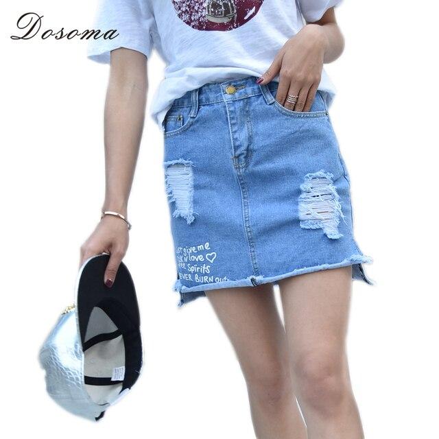 73deb948d Dosoma nuevo 2017 verano de las mujeres faldas moda de cintura alta short  mini falda jeans