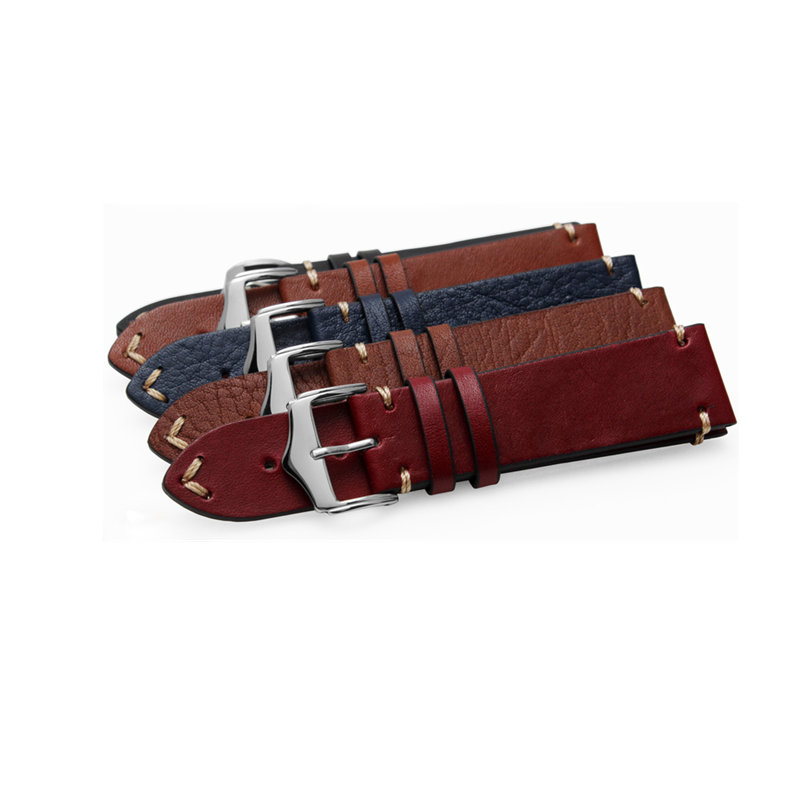 CARLYWET 20 22 24mm Handmade Leather Brown Black Red Blue VINTAGE Replacement Wrist Watch Band Strap