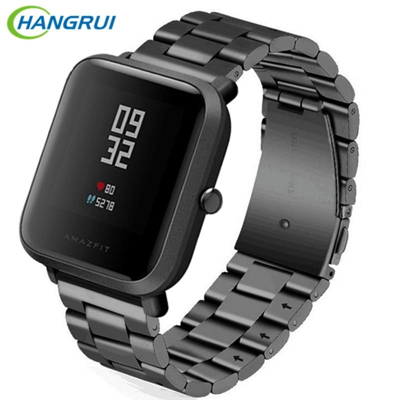 Hangrui 20mm pulsera de acero inoxidable banda de Metal correa para Xiaomi Huami Amazfit Bip poco ritmo Lite jóvenes reloj inteligente accesorios