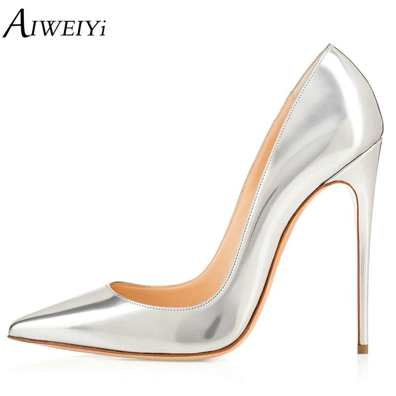 AIWEIYi Pointed Toe High Heels For Women Platform Pumps Stiletto High Heels Silver Patent Leather Slip On Ladies Wedding Pumps aiweiyi women high heel pump shoes 2018 pointed toe med heel high heels patent leather slip on platform pumps lady wedding shoes