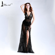 Free Shipping  Missord 2016 Sexy V-neck split party dress sequin maxi dress    FT5139