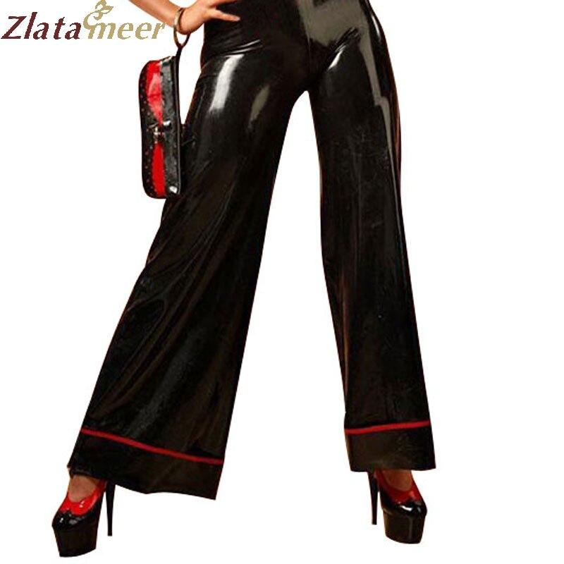 Женская повседневная одежда латексные брюки черные резиновые штаны леггинсы с красной отделкой для взрослых Плюс размер Горячая продажа и...