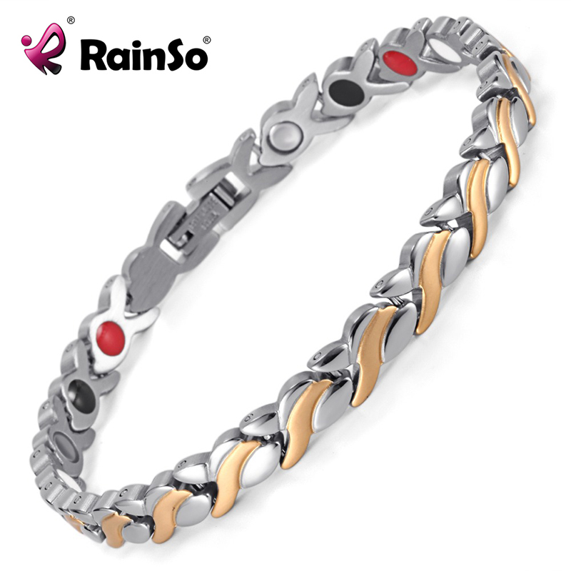Rainso Health Magnetic Bracelet For Women Stainless Steel Bracelets & Bangles with Health Germanium Link Chain Bracelets 1551 38 2018 new arrivel fashion magnetic health men s jewelry bracelet trendy titanium chain link charm bracelets bangles for womens
