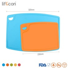 Liflicon 2pcs Silicone Cutting boards Non-Slip Chopping Boards Mats 9.1/12.5 Fruit, Vegatable Blocks Kitchen Tools