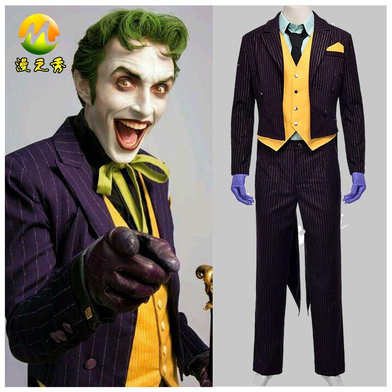 bd0bbc3c3675 Batman: Arkham Knight Joker Costume Adult Men Cosplay Clothes Halloween  Suit Full Set