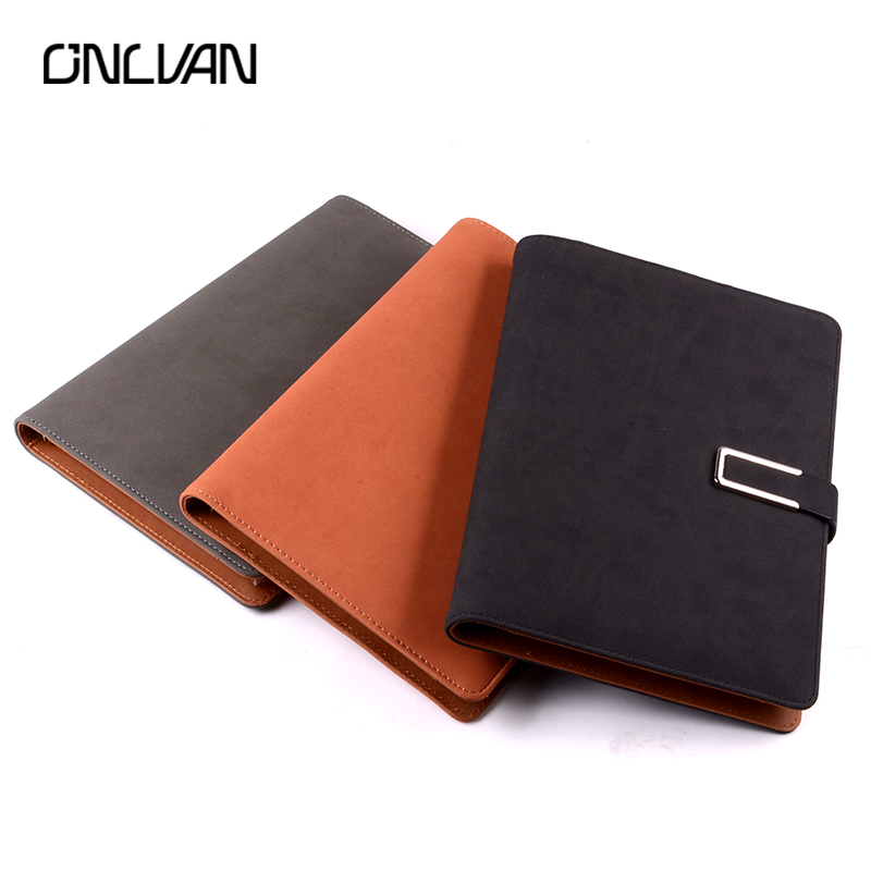 ONLVAN Notepad Nubuck Leather Writing Book Business with 6000mAh Power Bank Company Gifts Diary Papelaria Sketchbook Agenda 2018 black brown manager notebook with 6000 mah power bank document cover business supply office accessaries support customized