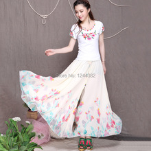 Boshow European Style Chiffon High Waist Dress with Printed Floral Pattern Multiple Sizes