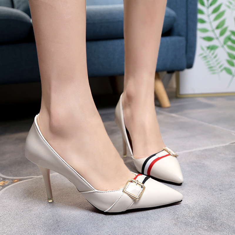2017 Spring and Autumn New Europe and the United States pointed shoes low to help thin women's slippers shallow mouth belt buckl europe and the united states 2015 new spring shoes and high heeled shoes asakuchi pointy suede 35 41 code