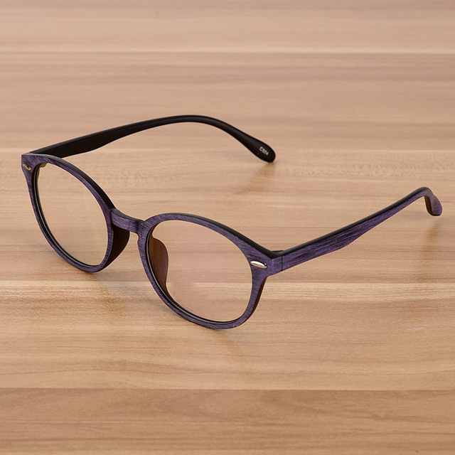 e40eaf25cf0 Retro Eyeglasses Optical Frames Clear Lens Fake Glasses Wooden Imitation Round  Vintage Eyewear Spectacle Frames Women Men