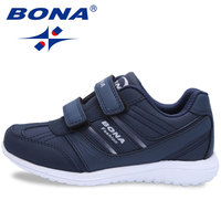 BONA New Classic Style Boys Casual Shoes Hook & Loop Girls Walking Shoes Synthitic Leather Children Sneakers Fast Free Shipping