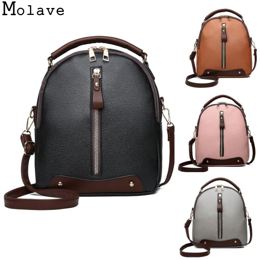 MOLAVE Women Vintage Backpack PU Leather 2018 Soft College Girls Student School Bags Mochila Travel Female Rucksack 19.August.12