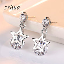 ZRHUA 925 Sterling Silver 2019 NEW Arrivals Fashion Shiny Crystal Star Ladies`Earrings Jewelry Women Female Engagement Brincos(China)