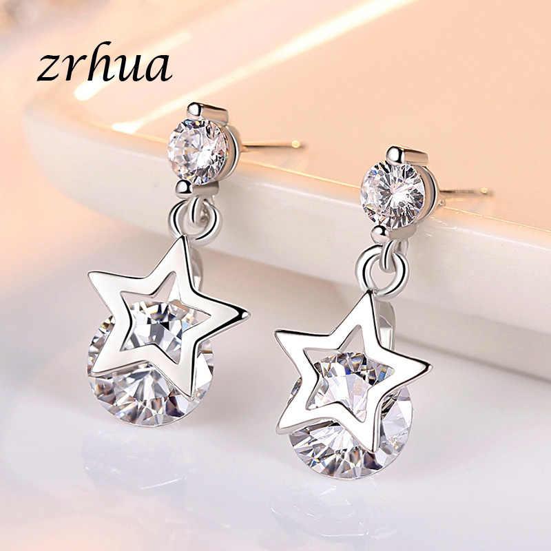 ZRHUA 925 Sterling Silver 2019 NEW Arrivals moda Shiny kryształ gwiazda Ladies'Earrings biżuteria kobiety kobiet zaręczynowy Brincos