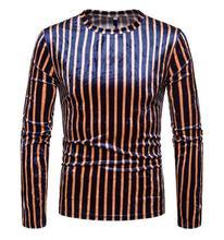 fashion shirt men long sleeve Colorblock striped print round collar shirt teenage Gold velvet Loose shirt mens personality