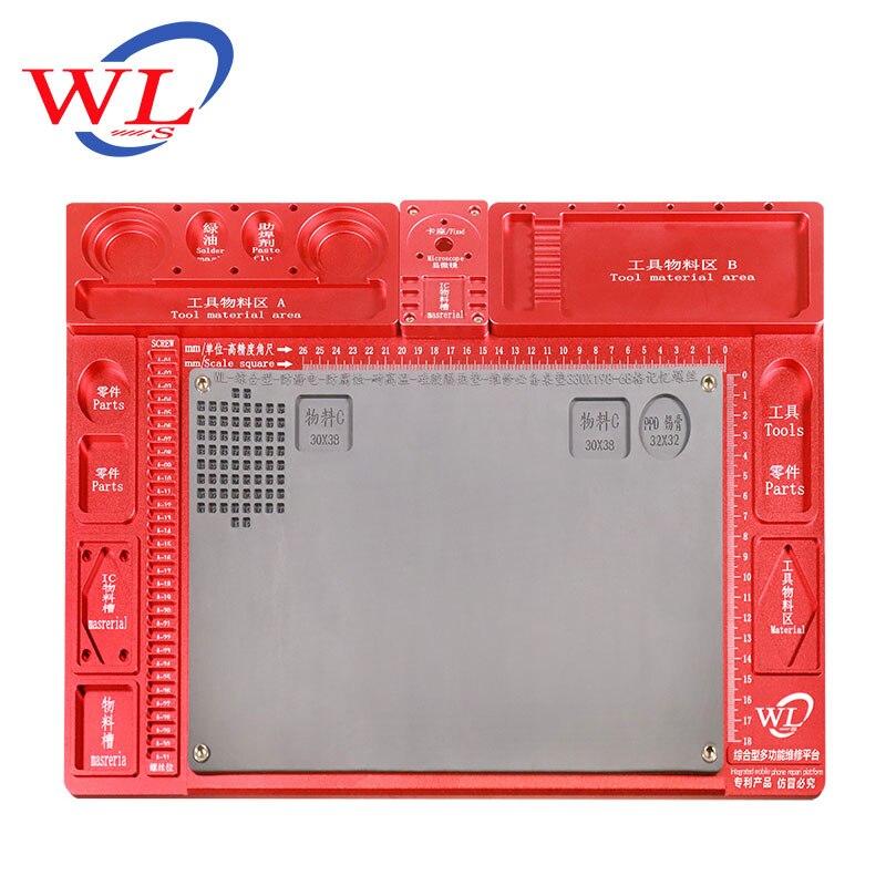 WL en alliage d'aluminium Pad de réparation multifonction Base de Microscope plate forme de Maintenance de réparation de téléphone Mobile + seulement Pad - 4