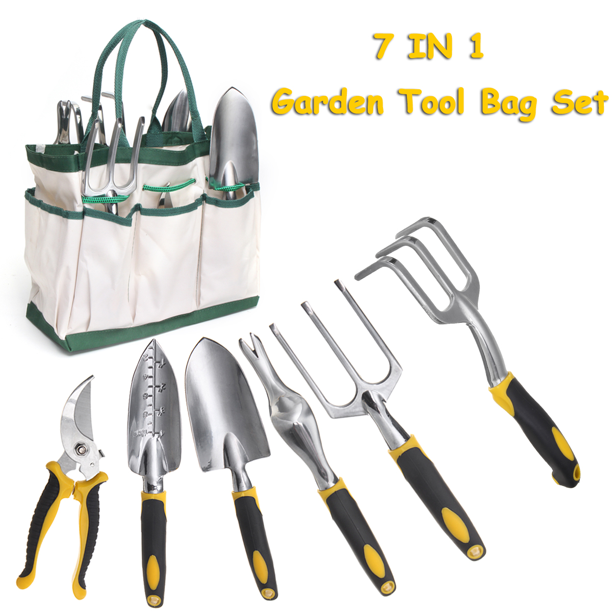 7Pcs Garden Tool Set Stainless Steel Tool Set Planting Tools Pliers with Folding Bag Weeding Fork Trowel Soil Scoop Cultivator 3pcs mini stainless steel garden tool set with soild wood handle