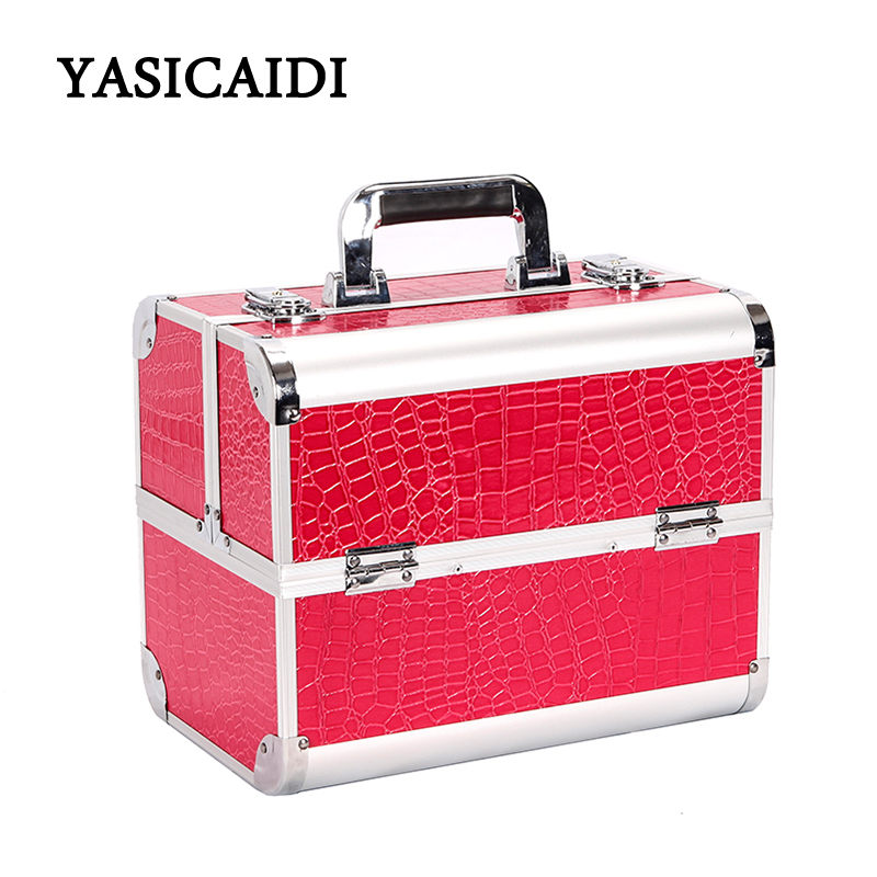 Hot Sale Professional Make up Box Makeup Case Beauty Case Cosmetic Bag Multi Tiers Lockable Box Large Capacity Storage Box цена 2017