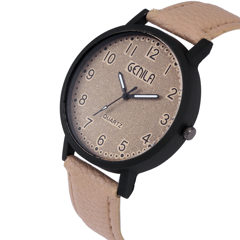 Wrist Watches Sport-Clock Leather-Band Quartz Military Beige-Strap Fashion Analog GENILA