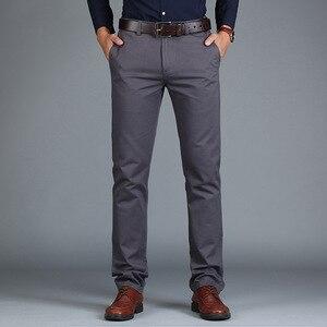 Image 5 - Vomint Neue männer Hosen Gerade Lose Beiläufige Baumwolle Mode Business Anzug Hosen Schwarz Blau Khaki Einfarbig Plus Größe 38 40 42