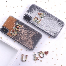 Initials Customized Float Glitter Sparkle Rhinestone Diamonds Crystal Metal Phone Case For iPhone XS Max 7 7Plus 8 8Plus X XR