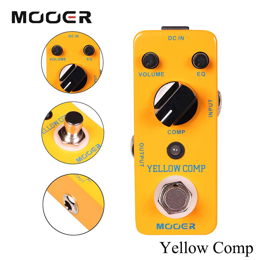 Mooer Mini Classic Optical Electric Compressor Effect Pedal YELLOW COMP True Bypass With Smooth Attack and Decay Sound mooer mini classic optical electric compressor effect pedal yellow comp true bypass with smooth attack and decay sound