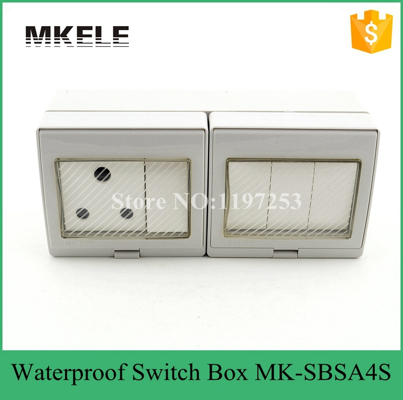MK-SBSA4S Top quality best price wall mount <font><b>4</b></font> <font><b>Gang</b></font> light <font><b>switch</b></font> socket 16A 250V electrical waterproof box with push button image