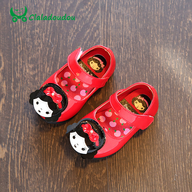 Claladoudou Newborn Baby Kids PU Leather Shoes Spring Autumn Infant Toddler Girl Moccasins Soft Footwear With Cute Doll Slippers