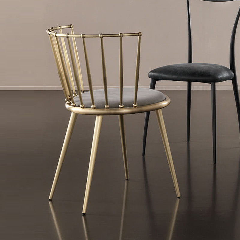 . 15  2 pcs Fashion Nordic Gold Iron Chair modern design dressing table  chairs metal steel chair makeup stool Multicolor mat