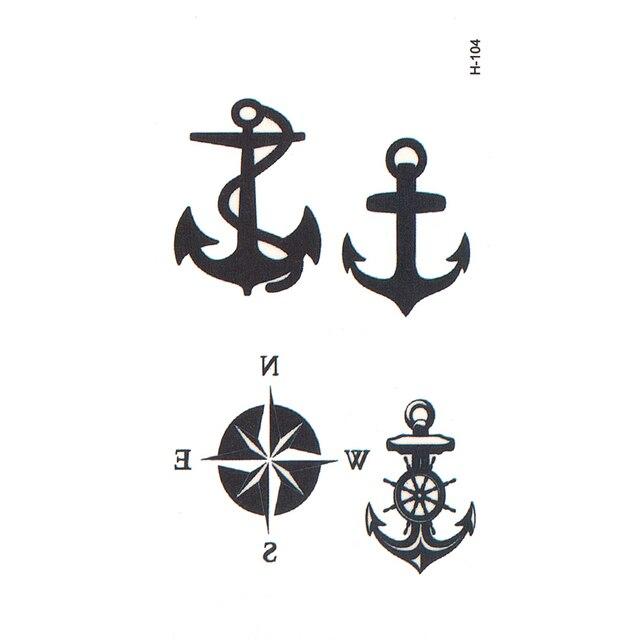 Kotwica Kompas Flash Tatuaż Tatuaże Tymczasowe Ciało Sztuki