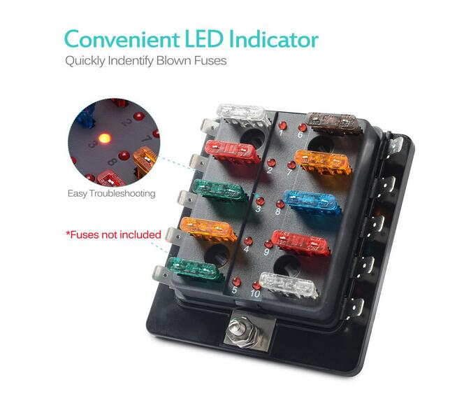 Image 2 - Jtron 6 way/10 Way Blade Fuse Box Holder with LED Warning Light for Car Boat Marine Trike 12V 24V M size-in Fuses from Automobiles & Motorcycles