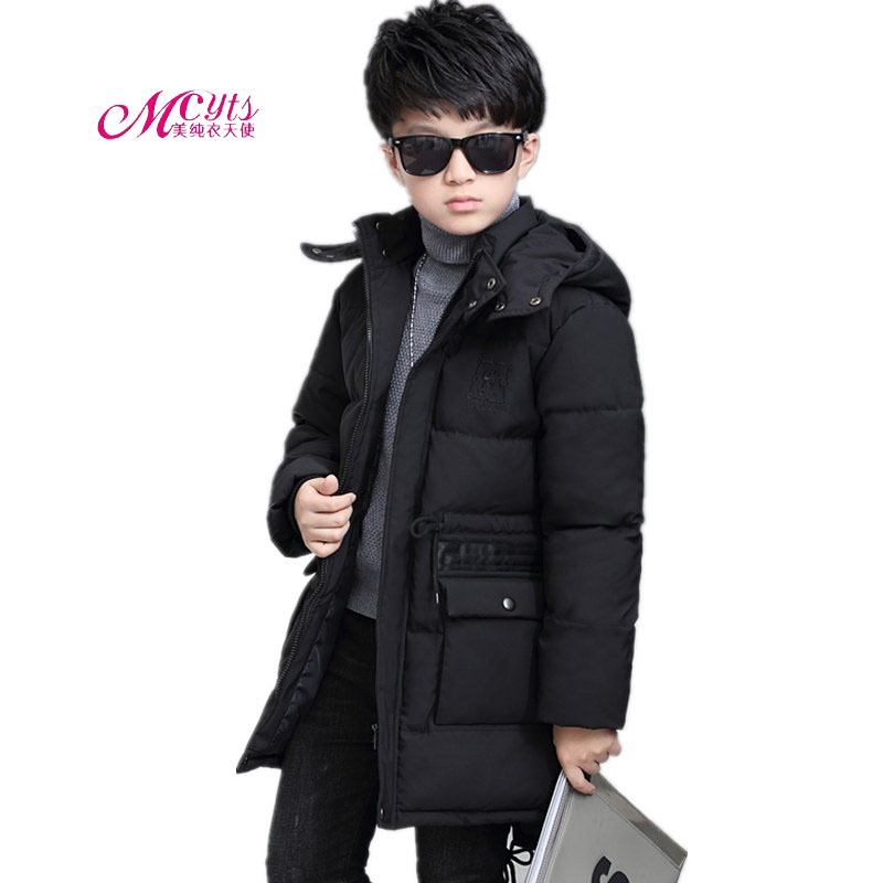 Teenage Children Down Jacket Long Hooded Boys Thick Warm Winter Cotton Jacket Coat 5 7 9 11 13 15 Years Boy Clothing Outerwear