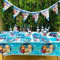 78pcs/set Anna Elsa Snow Princess Kids Birthday Party Supplies Girls Cartoon Figure WeddingDecoration