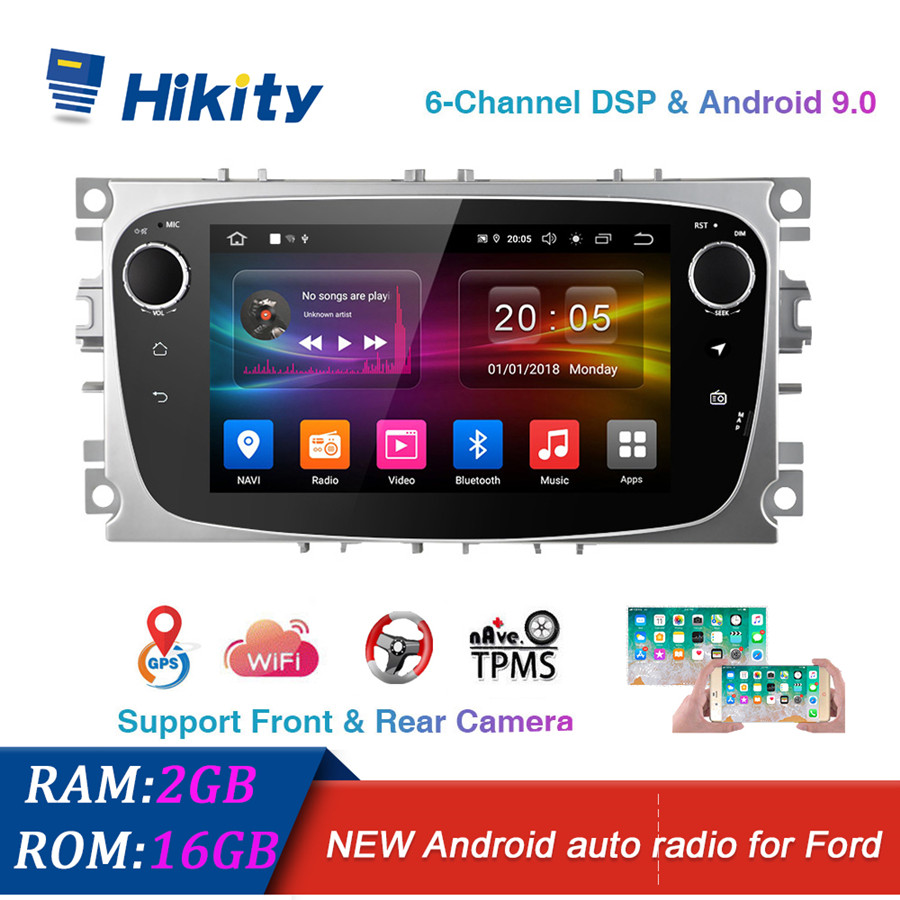 Hikity Android 9 2 Din Car radio Multimedia Video Player touch screen auto Stereo GPS MAP RDS TMPS DVR DAB For Ford Focus Mondeo