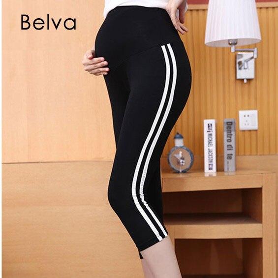 Belva Mutterschaftshose Sommer Leggings für Schwangere Free Size Schwangere Hose Hohe Elastische Hose für Schwangere
