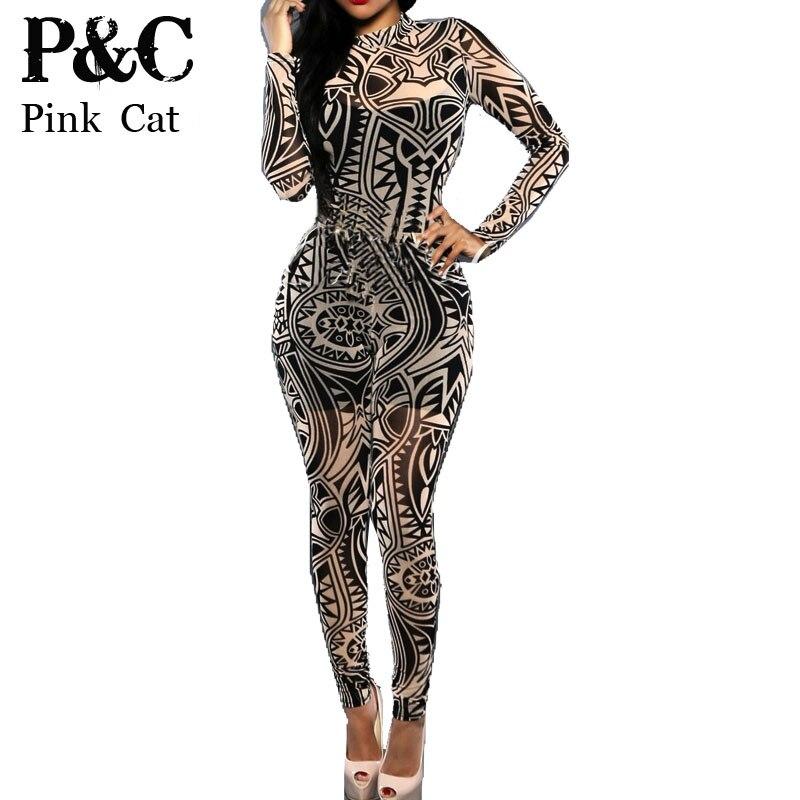 Plus Size Women Tribal Tattoo Print Mesh Jumpsuit Romper Curvy ...