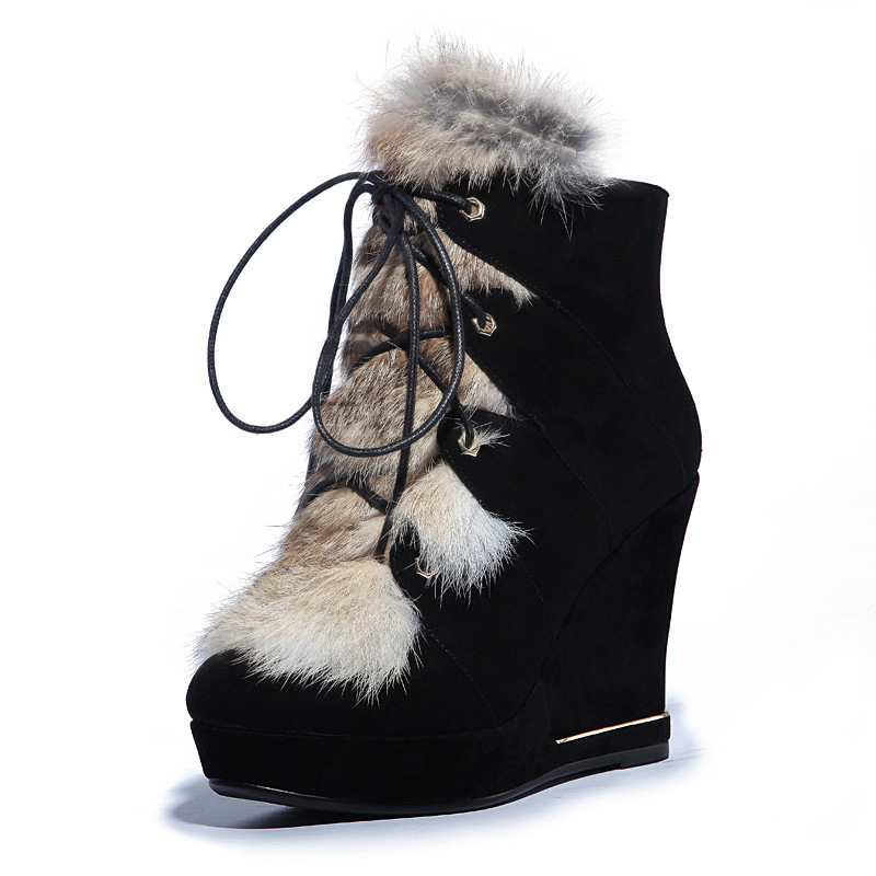 Women Winter Wedges Chunky Heel Platform Genuine Leather Fur Lace Up Round Toe Fashion Ankle Snow Boots Size 35-40 SXQ0811 odetina fashion genuine leather ankle boots flat woman round toe platform lace up boots autumn winter casual shoes big size 43