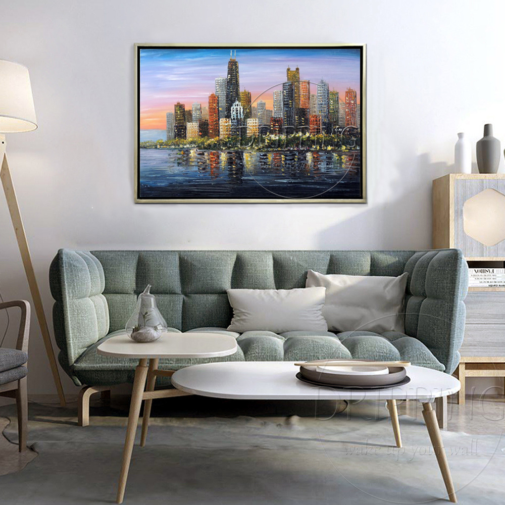 Artist Hand-painted High Quality Modern Wall Art Downtown Lake Oil Painting on Canvas Modern City Skyscrapers Oil Painting