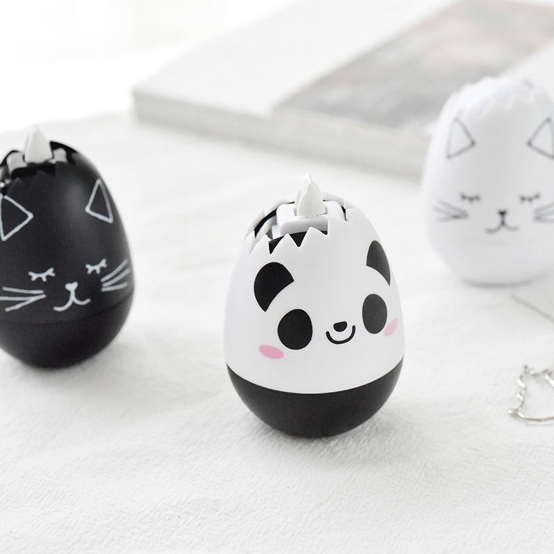 Novelty Cartoon Panda Cat Egg Shape Press Type Decorative Correction Tape Diary Stationery School Supply