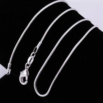 Factory price ! wholesale silver plated necklace, 1pcs silver fashion jewelry simple Snake Chain 1mm widith  Necklace