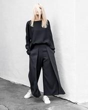 AEL שחור פעמיים סיפון צד נשי רחב רגל מכנסיים 2018 אביב נשים של בגדי גודל גדול אופנה גברת ישר מכנסיים