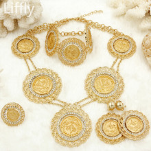 European new golden-plated long jewelry set gold coin fashion ladies wedding dress necklace earrings suit