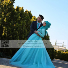 2016 Arabic Kaftan Muslim Hijab Long Sleeve Lace waist with Crystal Blue Wedding Dresses Bridal Wedding Dress Latest Fashion