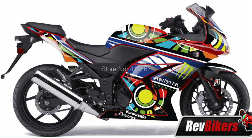 Ninja 250 red rossi sun and moon full fairing graphics sticker for kawasaki ninja 250 250ex 250r 250se in decals stickers from automobiles motorcycles