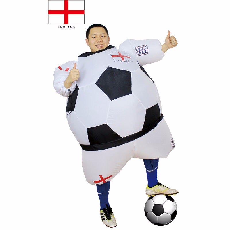 Adult England Football Player Costume Fancy Dress Blow Up Suit Outfit World Cup (1)