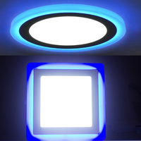 3W 6W 12W 18W Double Color White Blue Led Lights Round Panel Light Square Led Downlight